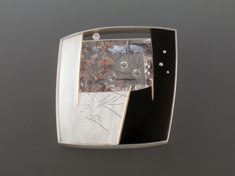 Eleanor Moty, Hanami Brooch, 2014, sterling silver, 14-karat gold, quartz crystal with tourmaline inclusions, diamond, black paper Micarta, 54 x 54 x 10 mm, photo: artist