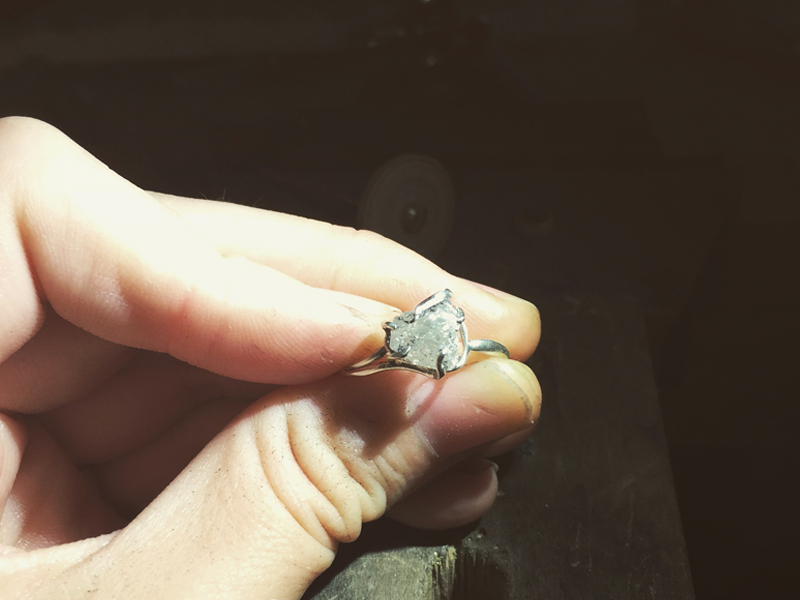 Raw Diamond Ring in progress, photo: Niki Grandics