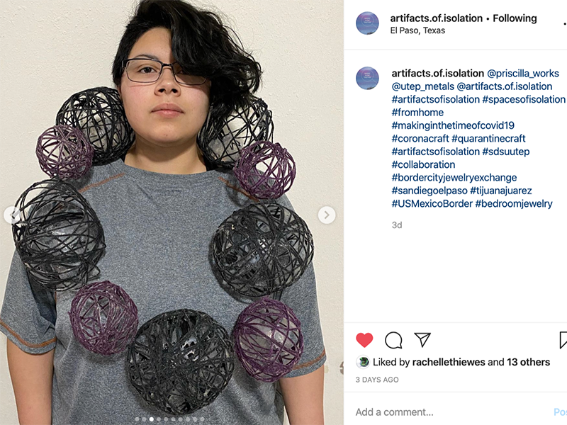 Instagram screenshot of work by student artist Alicia Moreno (@priscilla_works), Bedroom Jewelry, 2020