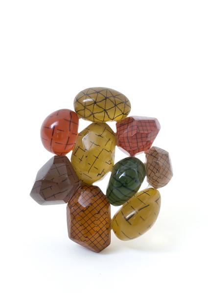 Beppe Kessler, Big Network, 2014, brooch, brass, wood, acrylic fiber and pigment