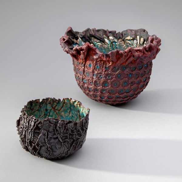 June Schwarcz, Vessel 2479 (left), 2012, electroplated copper foil, blue enamel