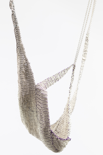 Ria Lins, Bat, 2011, necklace, silver, silk thread, 100 x 80 x 650 mm, photo: Dr