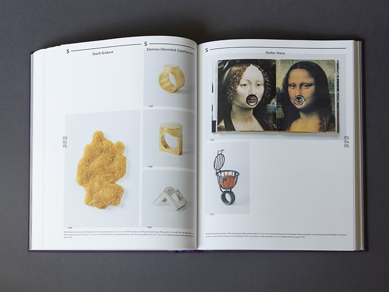 Interior spread from the book Schmuck A–Z, edited by Petra Hölscher, photo: Miriam Künzli